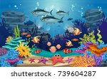 underwater illustration and... | Shutterstock .eps vector #739604287