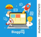 blogging concept with portable... | Shutterstock .eps vector #739607653