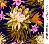 vector tropical pattern with... | Shutterstock .eps vector #739607773