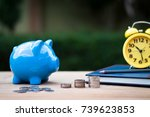 blue piggy bank  coin stack... | Shutterstock . vector #739623853