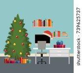 christmas scene office desk... | Shutterstock .eps vector #739625737