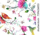 vintage seamless pattern  bird  ... | Shutterstock .eps vector #739626853