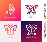 Stock vector vector set of abstract logo design templates and emblems butterfly silhouettes concepts and 739646473