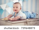 handsome funny happy baby child ... | Shutterstock . vector #739648873