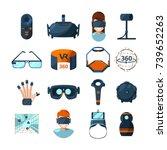 different symbols of virtual... | Shutterstock .eps vector #739652263