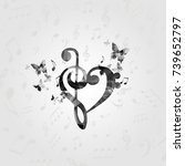 black and white g clef heart... | Shutterstock .eps vector #739652797
