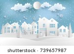 scenery in the winter with... | Shutterstock .eps vector #739657987