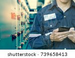 double exposure of  engineer or ... | Shutterstock . vector #739658413