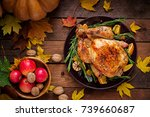 roasted turkey garnished with... | Shutterstock . vector #739660687