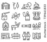 simple camping icons set.... | Shutterstock .eps vector #739661833