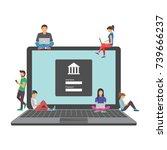 mobile banking concept... | Shutterstock .eps vector #739666237