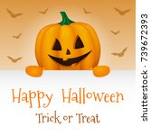 happy halloween   poster with... | Shutterstock .eps vector #739672393