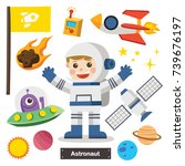 set of characters of astronaut... | Shutterstock .eps vector #739676197