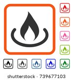 fire place icon. flat gray...