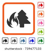 forest fire icon. flat gray...