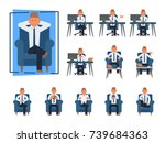 businessman work sitting front...   Shutterstock .eps vector #739684363