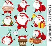 santa claus  christmas set | Shutterstock .eps vector #739695763