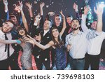 young people have fun at a new... | Shutterstock . vector #739698103