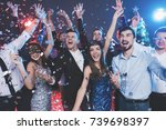 young people have fun at a new... | Shutterstock . vector #739698397