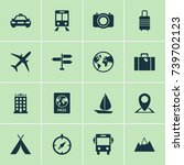 traveling icons set. collection ... | Shutterstock .eps vector #739702123