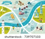 taiwan travel map  lovely... | Shutterstock .eps vector #739707103