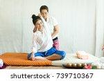 healthy woman getting thai... | Shutterstock . vector #739710367
