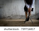 business woman tied with rope... | Shutterstock . vector #739716817