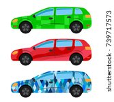 a set of three cars painted in... | Shutterstock .eps vector #739717573