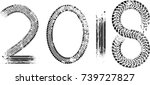 tire tracks . new year 2018.... | Shutterstock .eps vector #739727827