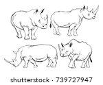 rhino illustration in line... | Shutterstock .eps vector #739727947