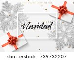 christmas background with gifts ... | Shutterstock .eps vector #739732207