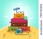 summer travel concept. travel... | Shutterstock .eps vector #739745203