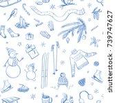 seamless winter pattern  blue... | Shutterstock .eps vector #739747627