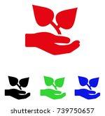 flora care hand icon. vector... | Shutterstock .eps vector #739750657