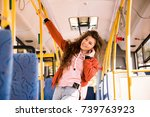 happy young woman in earphones... | Shutterstock . vector #739763923