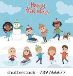 winter fun. illustration of... | Shutterstock .eps vector #739766677