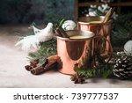 traditional winter eggnog in... | Shutterstock . vector #739777537