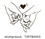 couple in love hold hands...   Shutterstock . vector #739784443