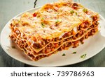 portion of delicious cheesy... | Shutterstock . vector #739786963