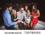 group of people having a party... | Shutterstock . vector #739789393