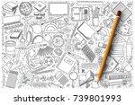 hand drawn set of school vector ... | Shutterstock .eps vector #739801993