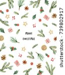 watercolor christmas card with... | Shutterstock . vector #739802917