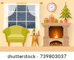 vector new year s interior in... | Shutterstock .eps vector #739803037