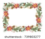 watercolor christmas frame with ... | Shutterstock . vector #739803277