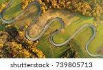 road in autumn scenery   aerial ... | Shutterstock . vector #739805713