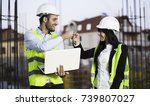 engineers on construction site... | Shutterstock . vector #739807027
