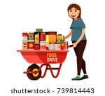 young woman volunteer with...   Shutterstock .eps vector #739814443
