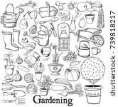 gardening line icon drawing... | Shutterstock . vector #739818217