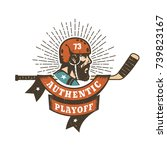 authentic retro hockey playoff... | Shutterstock .eps vector #739823167