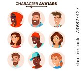 people characters avatars set... | Shutterstock . vector #739827427